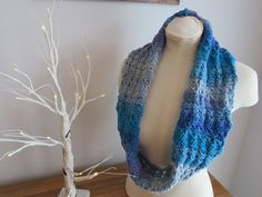 Azure Skies Crochet Cowl Pattern  Broomstick Lace.