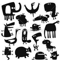 Illustration of funny animals vector art, clipart and stock vectors. Silhouette Cameo, Animal Silhouette, Silhouette Portrait, Silhouette Vector, Cartoon Monsters, Cute Monsters, Illustrations, Illustration Art, Haida Kunst