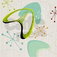 Boomerang Barkcloth Throw Pillow on CafePress.com