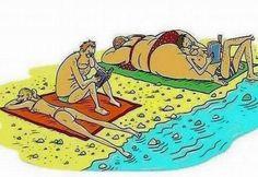 plage dessin humour men and women fat slim Cartoon Jokes, Cartoon Pics, Funny Cartoons, Funny Comics, Funny Jokes, Hilarious, Beach Cartoon, Funny Picture Jokes, Funny Photos