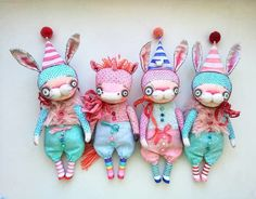Just look at those bunnies! Sock Dolls, Doll Toys, Crazy Toys, Handmade Stuffed Animals, Christmas Tree Toy, Fabric Animals, Rabbit Toys, Bear Toy, Retro Toys
