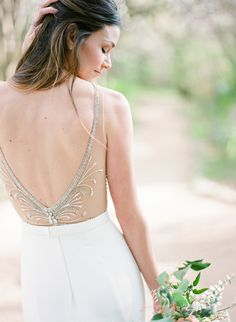 Glam beaded wedding dress: http://www.stylemepretty.com/texas-weddings/austin/2016/05/17/ethereal-art-nouveau-bridal-in-austin/ | Photography: Sophie Epton - http://www.sophieepton.com/