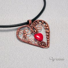 Wire wrapped heart pendant with red glass bead, Valentine's Day gift