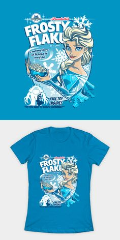 Frosty Flakes – Ice Queen Edition T Shirt. A swirling storm of flavour in every bite! A cereal made for royalty! Movie T Shirts, Ice Queen, Flakes, Awesome Stuff, Cereal, Royalty, Disney, Mens Tops, Stuff To Buy