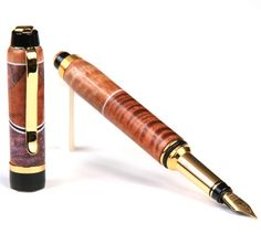 Buy good quality of cigar fountain pen curly koa, pyinma with maple burl inlays at affordable prices designed with titanium nitride nib extension, iridium-tipped german fountain pen nib, sealed cartridge with cap screws on to both front and back ends Fountain Pens For Sale, Fountain Pen Nibs, Vintage Pens, Maple Burl, Writing Instruments, Ballpoint Pen, Cigars, Curly, Writing