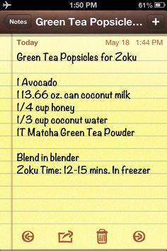 Green Tea popsicles for zoku #zoku #glutenfree #popsicles
