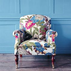 Garden Painting On A Blue Overstuffed Chair. Beautiful Floral With  Butterflies, Blossoms And Dragonflies. | Furniture | Pinterest | Garden  Painting, ...