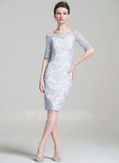 Sheath/Column Off-the-Shoulder Knee-Length Lace Mother of the Bride Dress (008074197)
