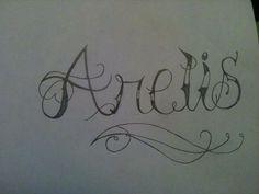 Dibujo hecho a lápiz - Tatuaje con el nombre de Arelis