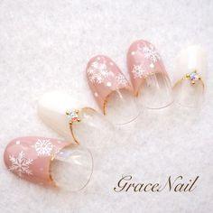 Pink snow nail, winter nail
