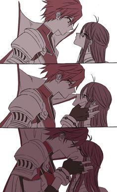 Elsword Knight Emperor x Aisha Aether Sage Elsworld ; Manga Kiss, Anime Kiss, Manga Art, Anime Art, Anime Couple Kiss, Anime Couples Manga, Cute Anime Couples, Anime Elsword, Elsword 2