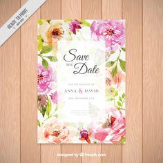 Invitación de boda con bonitas flores de acuarela  Vector Gratis