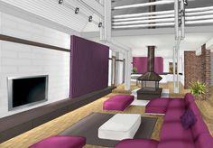Salon deco blanc chocolat prune et violet www.archi-cochez.com