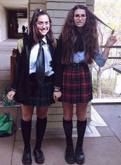 This one is super easy and even more fun to act out. Find a couple plaid skirts, collared shirts, and knee-length socks, and you're on your way to the throne!