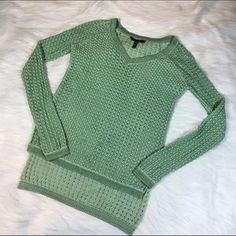 I just added this to my closet on Poshmark: BCBGMaxazria Green Long Sleeve V-Neck Sweater. Price: $18 Size: XS