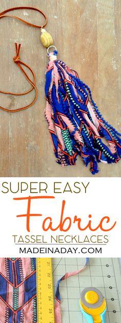 DIY Fabric Tassel Necklaces, fabric & ribbon tassel necklaces, easy jewelry DIY, ribbon tassel, shabby boho tassel, bohemian tassel jewelry, see the tutorial on madeinaday.com
