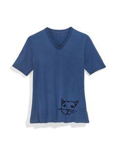 ED Flocked Cat V-neck Tee