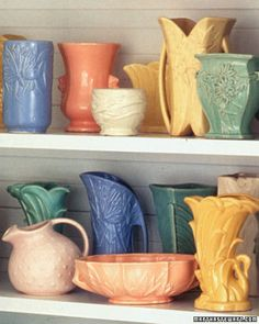 McCoy Pottery. I have approximately 50 vases, bowls, cookie jars and several other random items. I love them all.