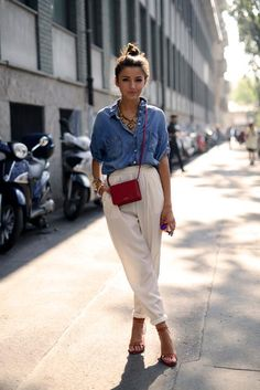 denim button-up + ivory high-waisted trousers + nude ankle-strap heels