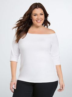 Plus Size Off The Shoulder Bardot Top, BRIGHT WHITE