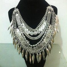 Moda marca de jóias boutique tribal handmade multi layer antique silver link & cobra cadeia moedas e folhas colar gargantilha fringe