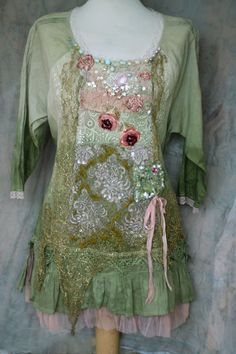Mayrose--- romantic dreamy tunic, textile art collage wearable art, with hand beading, antique and vintage laces