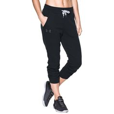 Under Armour Women's Sporty Fleece Joggers ($50) ❤ liked on Polyvore featuring activewear, activewear pants, black, under armour sportswear and under armour