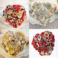 I Heart Brooch Bouquets My heart-shaped brooch bouquets have proved very popular, and I do love them. Because theyre compact they look really petite but still manage to pack a lot of punch. Silvers, golds and reds all seem to work really well and they should suit you if youre looking for something a bit different. Ive got a new ruby-red heart bouquet over on Etsy right now with a lucky streak running through it (bottom right in the photo set). If youre wishin a