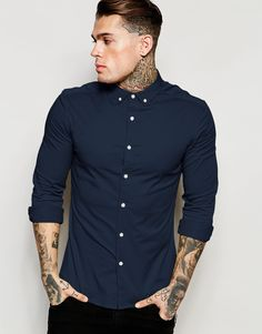 ASOS+Skinny+Shirt+in+Navy+Twill+with+Long+Sleeves