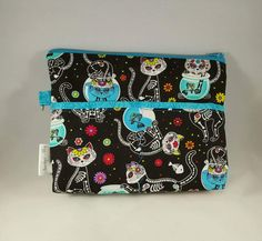 Nurse Bag, Organizer, Stethoscope, Blood Pressure Cuff, CNA, RN, LPN, Midwife, Doula, Travel bag. Sugar Skull Cats, Day of The Dead! by AmethystAlleyFantasy on Etsy