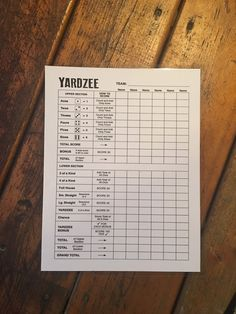 8.5x11 Reusable laminated yardzee score card -scorecard -  score sheet