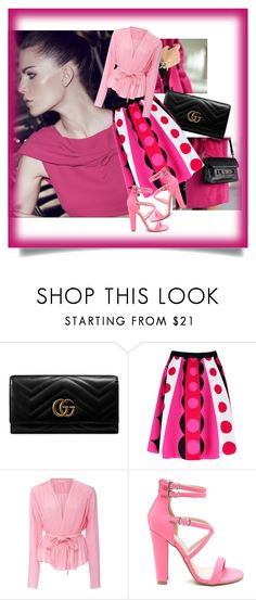 """""""Pink and Black"""" by ciukinaa ❤ liked on Polyvore featuring Pink Martini, Gucci and Carven"""