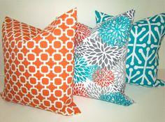 Sale THROW PILLOWS Set of 2 - 16x16 TEAL Orange Throw Pillow Covers 16 x 16  Aqua Turquoise Gray Decorative Throw pillows Indoor Outdoor. $33.95, via Etsy.