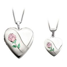 Mother and Daughter Matching Rose in Heart Locket and Heart Pendant Set in Sterling Silver