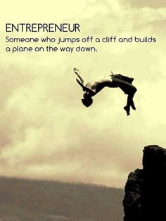 Entrepreneur = someone who jumps off a cliff and builds a plane on the way down.