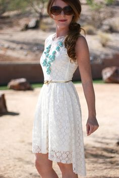 I have this exact same outfit! Dress from H and J. Crew turquoise bauble necklace :)