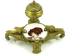 Victorian Bronze Rococo Inkwell With Hand Painted Porcelain Insert - French