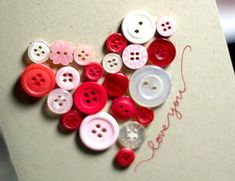 Button heart card;)