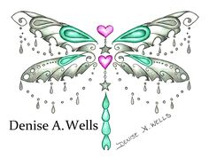 """Charm Dragon"" Colorful Dragonfly Tattoo Design by Denise A. Wells. Dragonfly Tattoo with hanging hearts and star charms and hanging chains. Ornate Dragonfly Tattoo Design."