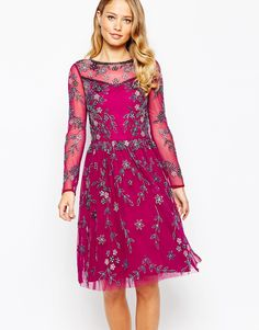 Frock and Frill Mesh Sleeve Skater Dress With All Over Floral Embellishment  at asos.com 18ddbf4c05f