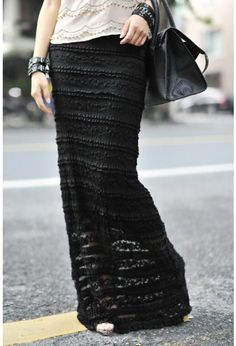 Hot selling elegance slim long straight skirt  ladies sexy lace full length maxi skirt free shipping $26.70
