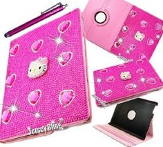 Amazon.com: HOT PINK! 3D KITTY BLING! iPad 2/3/4 or iPad Mini Crystal & Rhinestone Rotating Faux Leather Case with FREE Jersey Bling® Stylus...