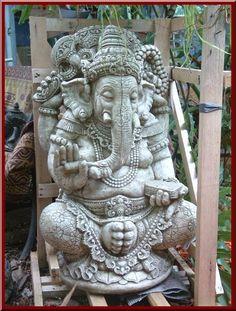 Ganesha Cast Lava Stone cement Ganesh Statue Hindu God Wisdom garden decor for sale Australia online Yackandandah Victoria