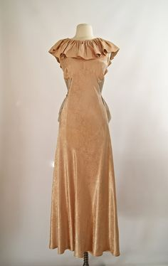 Vintage 1930's Bias Cut Satin Evening Gown 30s by xtabayvintage