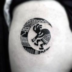 Guys Thigh Half Moon Themed Kokopelli Tattoos