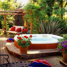 Hot Tub Backyard Getaway: A typical round hot tub is 6 feet in diameter and takes up about 30 square feet. A rectangular tub requires about 48 square feet. You'll also need additional room for sitting and walking around the tub. (Like it lowered, special Outdoor Rooms, Outdoor Living, Whirlpool Deck, Round Hot Tub, Hot Tub Backyard, Nice Backyard, Backyard Gazebo, Deck Design, Diy Pergola