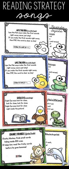 My students LOVE these reading strategy songs! It helps them remember 6 decoding strategies. When they get stuck on a word, they know they can try Chunky Monkey, Lips the Fish, Skippy Frog, Flippy Dolphin, Stretchy Snake or Eagle Eye to help them figure i