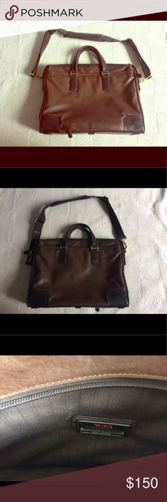 """TUMI soft leather briefcase messenger laptop bag Designer TUMI bag. Style is """"Beacon Hill Irving."""" Briefcase style with messenger strap. Soft brown leather.  Classic sophisticated unisex design. 3 large zipper compartments plus a small one on the inside. Perfect for a laptop. Almost brand new condition except for extremely minor distressing towards bottom of the bag (Pictured.) Sold out on Amazon and given all 5 star reviews. Will last and stay fashionable for years. Tumi Bags Laptop Bags"""