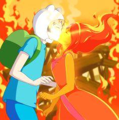 Adventure Time Couples Fan Art: Finn and Flame Princess
