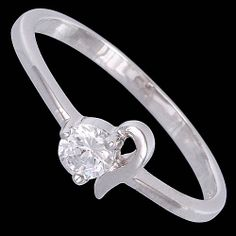 Silver ring, zirconia, delicate Silver ring, Ag 925/1000 - sterling silver. With stone (Cubic zirconia). Delicate design. Width at the place of pattern approx. 5mm.